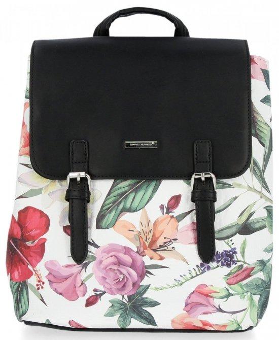 Modne Plecaczki Damskie w kwiaty firmy David Jones Czarny