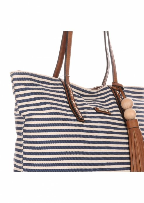 Duża Torba Damska David Jones Typu Shopper Bag XXL Beżowa/Niebieska