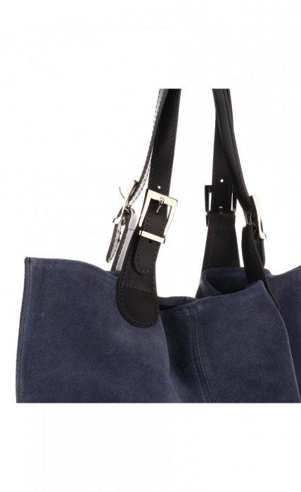 Torebka Skórzana Ekskluzywny Shopper bag Jeans