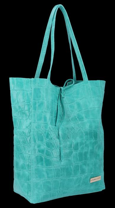 Vittoria Gotti Włoski Shopper XL Uniwersalna Torba Skórzana do noszenia na co dzień z modnym motywem Żółwia Turkus