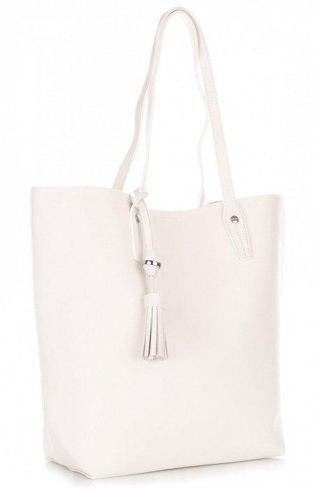 Duża Torba Damska David Jones Typu Shopper Bag XXL z Kosmetyczką Biała