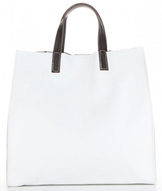 Praktyczne Torebki Skórzane 2 w 1 Shopper z Listonoszką firmy Genuine Leather Biała