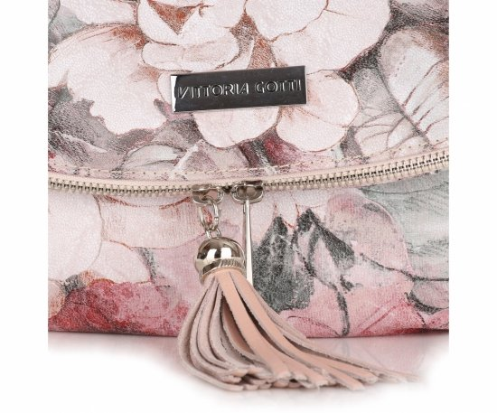 Modna Listonoszka Skórzana Vittoria Gotti w Kwiaty Multikolor Różowa