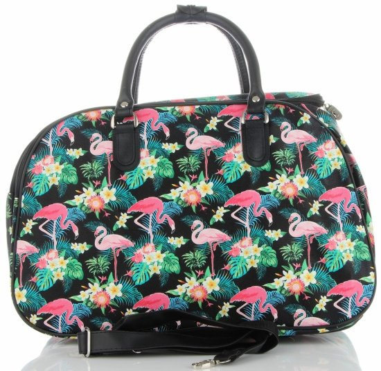 Duża Torba Podróżna Kuferek Or&Mi Flamingil Multikolor - Czarna