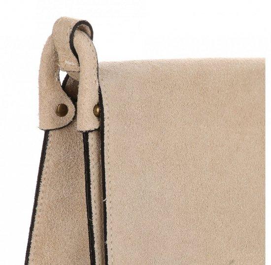 Listonoszka Skórzana Genuine Leather Beżowa