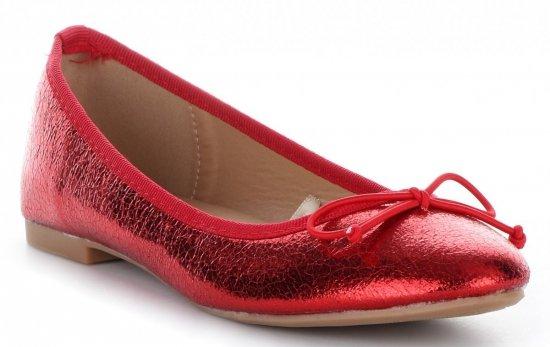Balerinki Damskie z Kokardką Czerwone
