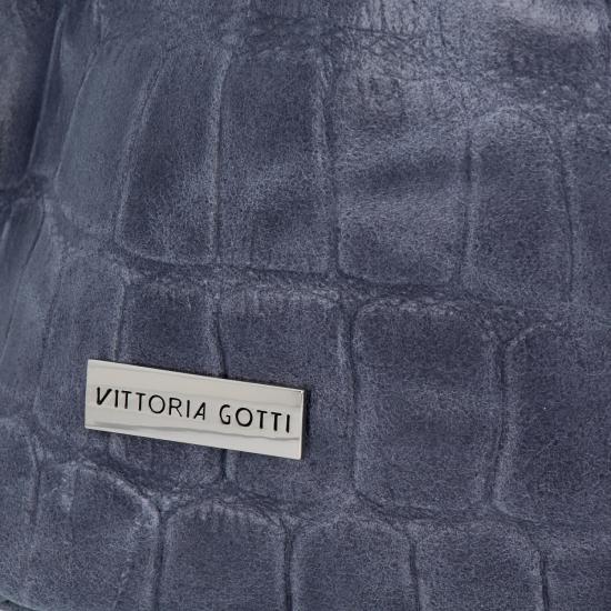 Vittoria Gotti Uniwersalna Torebka Skórzana w modny motyw żółwia Indygo