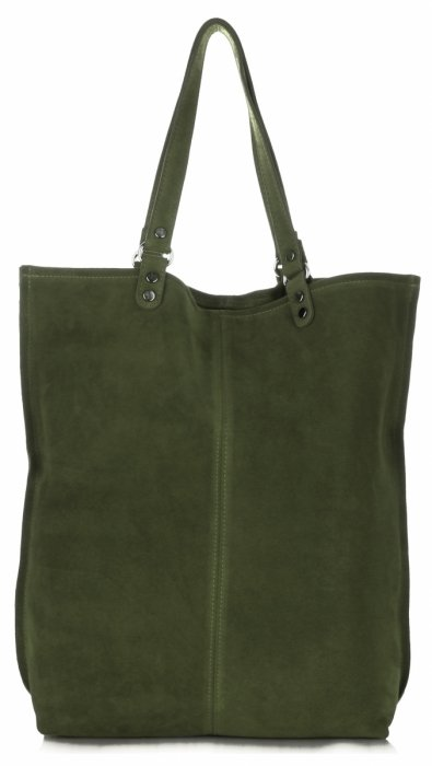 99df7209d582e Uniwersalna Torba Skórzana Firmowy Shopper Vittoria Gotti w rozmiarze XXL  Zamsz Naturalny wysokiej jakości Zielona