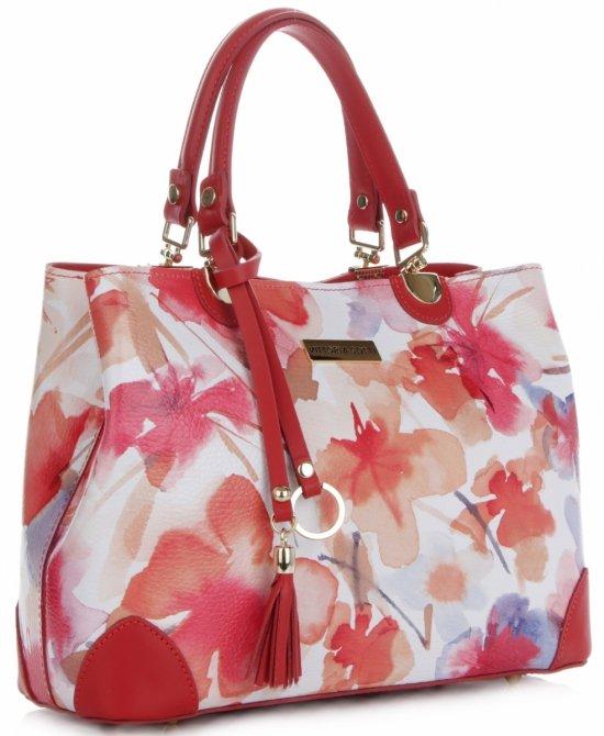 b94e4d1999a39 Vittoria Gotti Modna Torebka Skórzana Elegancki Kuferek Made in Italy we  wzór malowanych kwiatów Multikolor Czerwona