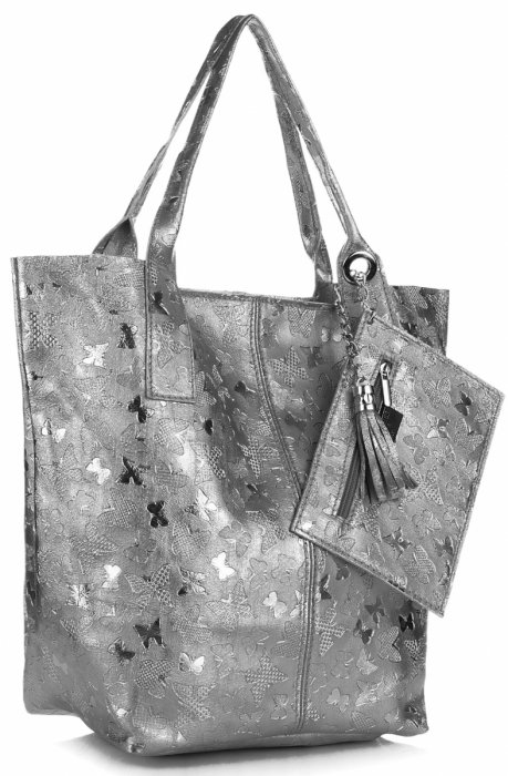 e7b06d4d51227 Uniwersalna Torebka Skórzana ShopperBag firmy Genuine Leather w Motyle Szara