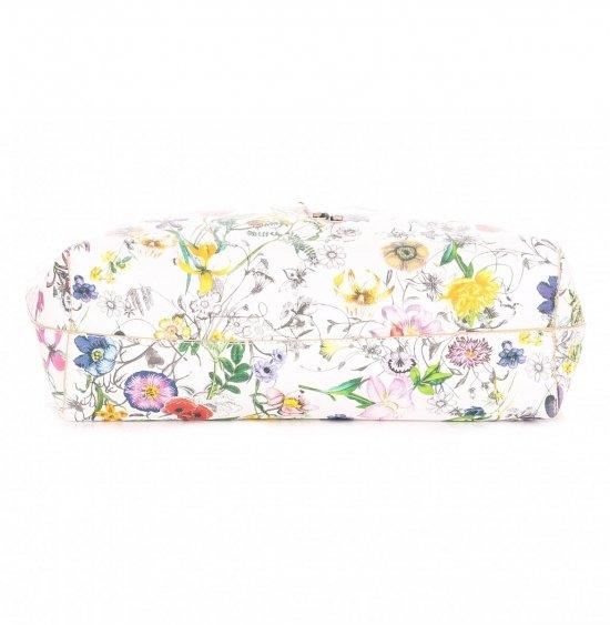 Dwustronna Torba Damska XL David Jones w Kwiaty z Kosmetyczką Beżowa