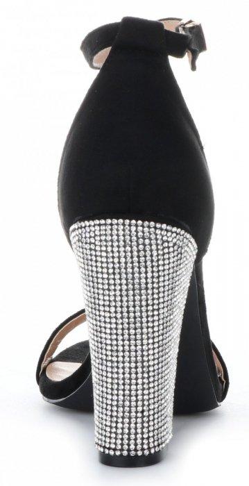 Bellucci Modne Czółenka Damskie na wysokim obcasie z kryształkami Czarne