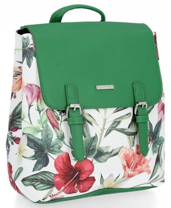 Modne Plecaczki Damskie w kwiaty firmy David Jones Zielony