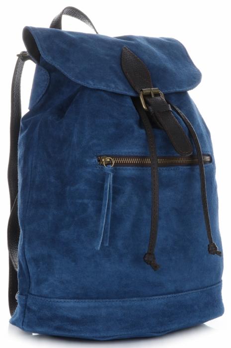 23108bdff72bf Vittoria Gotti Skórzany Plecak Damski Made in Italy Niebieski ...