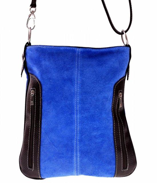 Messenger tašky vyrobené zo semišu nat. Modrý