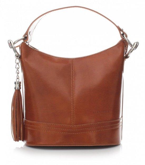 Klasická kožená kabelka s dlhým remienkom červená