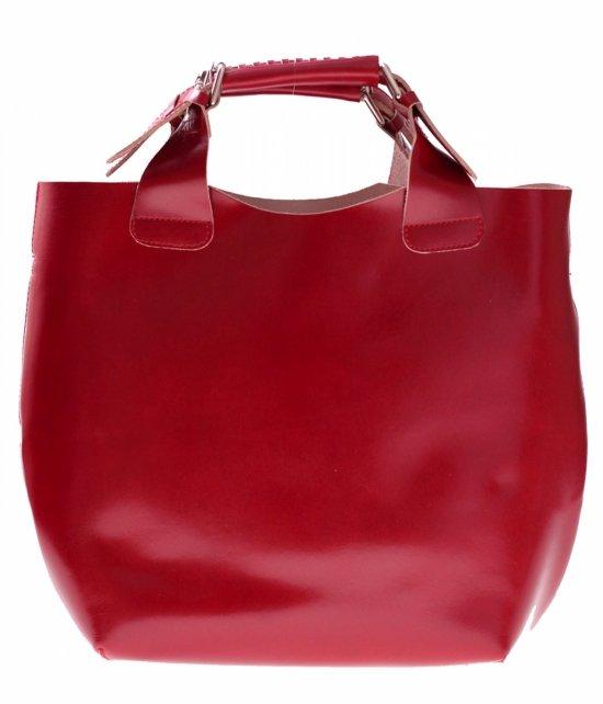 Shopperbag Kožená taška s kozmetickou taškou Červená