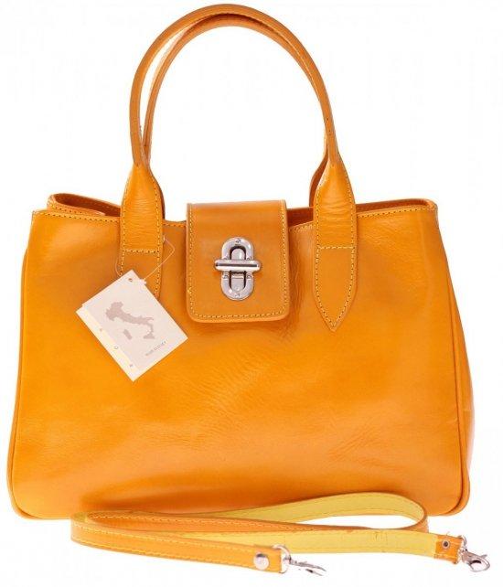 Taška Kožená taška vyrobená v Taliansku žltá