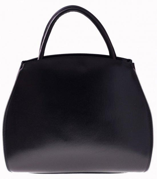 Taška Kožená taška s rozšíriteľnou čiernou