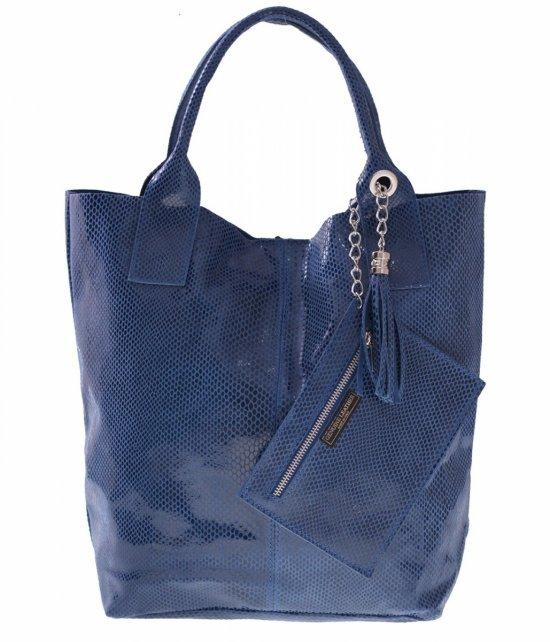 Shopper bagi kožené tašky, lakované modré