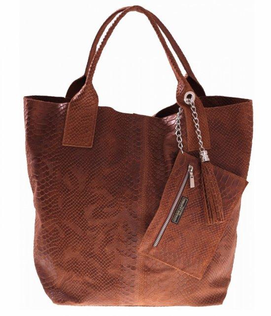 Talianska Kožená Taška Shopper Bag Bronz