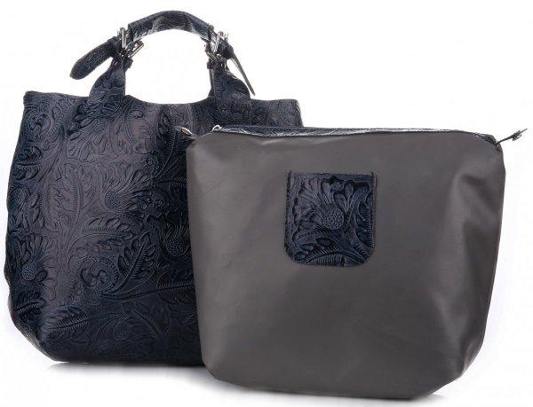 d1dbc64e01bea Torebki Skórzane Genuine Leather Ponadczasowy ShopprBag z Kosmetyczką  Granatowa
