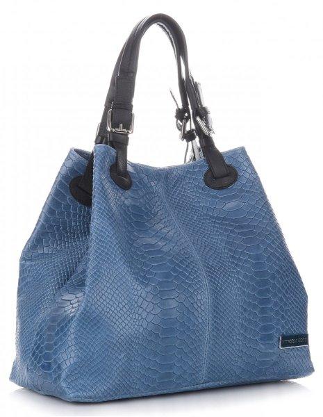 b3a4598471594 VITTORIA GOTTI Włoska Torebka Skórzana wzór Aligatora Niebieska - Jeans
