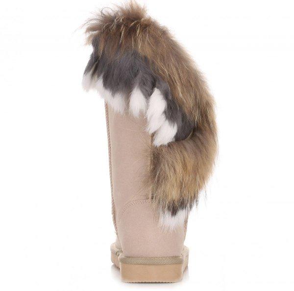 9ba998873978f Włoskie Skórzane Botki Damskie Śniegowce Futro z Jenota Królika Beżowe