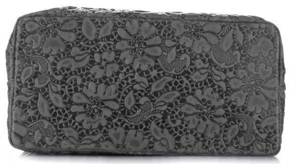 786ef45052d78 Włoska Torebka Skórzana firmy Vittoria Gotti z tłoczonym wzorem Kwiatów  Szara