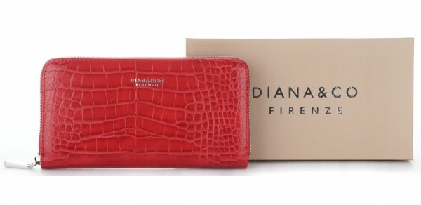 1be941985954b Portfel Damski Diana Co Firenze wzór Aligatora Czerwony ...