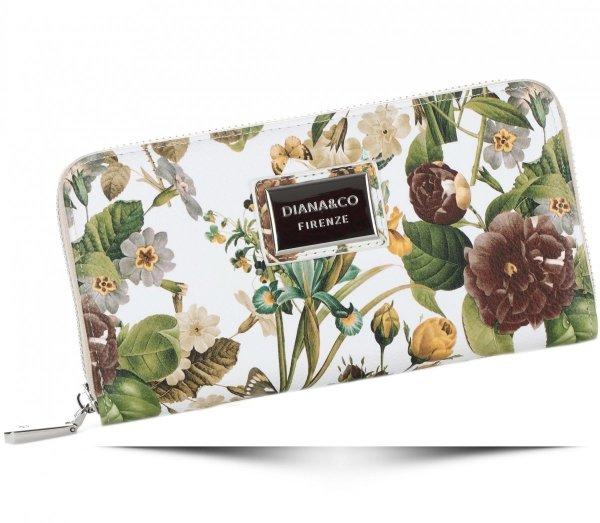 7d0a71267d303 Modny Portfel Damski Diana Co Firenze wzór Kwiatów Beżowy ...