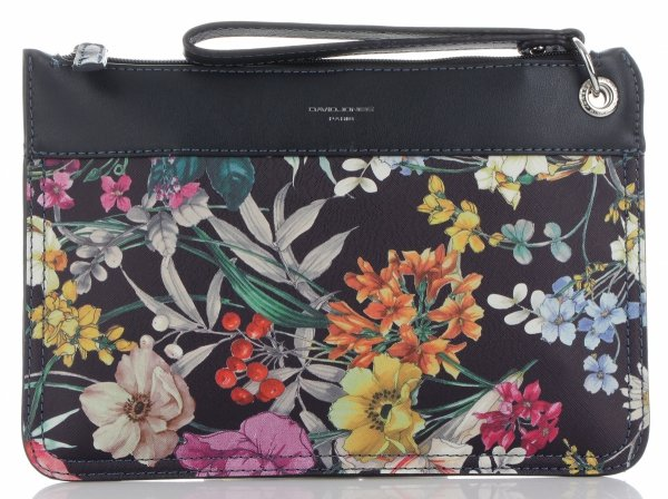 b16f816bfd170 Firmowe Listonoszki Damskie we wzór kwiatów marki David Jones Multikolor  Granatowa