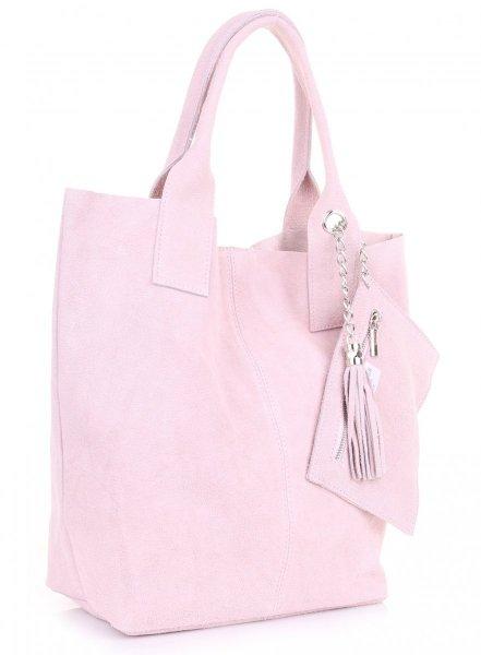 2a5d2ad71b40f Włoska Torebka Skórzana Shopper bag Zamsz Naturalny Pudrowy Róż