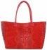 Kožená kabelka kufřík motiv aligátora červená