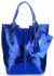 Kožené kabelky Shopper bag Lak modrá