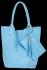 Vittoria Gotti Torebki Skórzane Typu ShopperBag XL Zamsz Naturalny Wysokiej Jakości Błękitna
