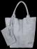 Włoskie Torebki Skórzane Shopper Bag w motyw aligatora firmy Vittoria Gotti Jasno Szara