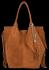 Modna Torebka Skórzana Zamszowy Shopper Bag w Stylu Boho firmy Vittoria Gotti Ruda
