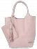 Modne Torebki Skórzane Shopper Bag XL z Etui firmy Vittoria Gotti Pudrowy Róż