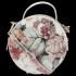 Okrągła Torebka Skórzana Listonoszka w kwiaty firmy Vittoria Gotti Beżowa