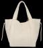 Vittoria Gotti Włoska Torebka Skórzana Shopper Bag z Kosmetyczką Beżowa