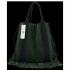 Vittoria Gotti Włoska Torebka Skórzana Shopper Bag w stylu Boho Butelkowa Zieleń