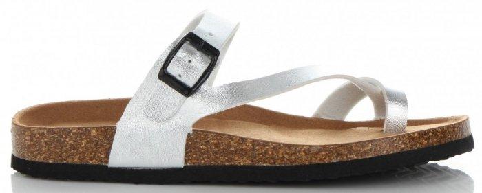 481d14fdf00795 Eleganckie Klapki Damskie firmy Ideal Shoes Srebrne