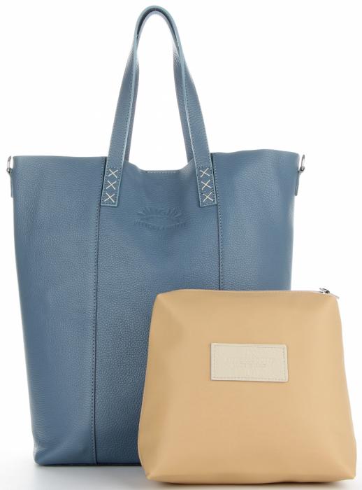 Vittoria Gotti Firmowy Shopper Made in Italy z Kosmetyczką Niebieski Panitorbalska.pl