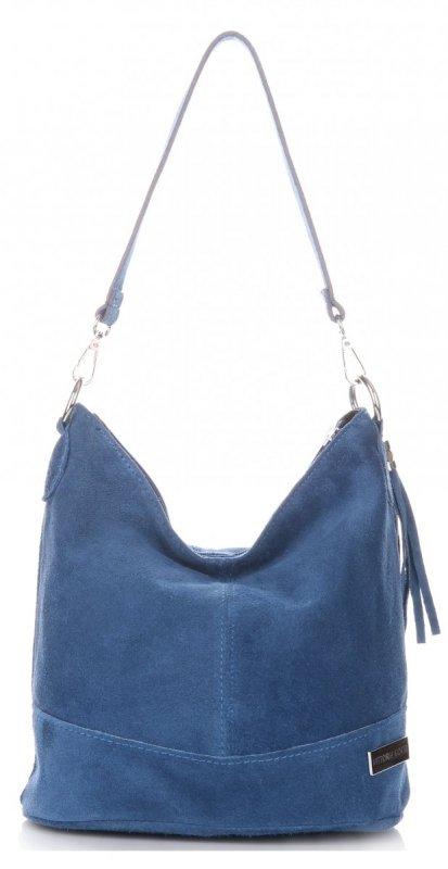 a3cf4db6ed549 Torebka Skórzana Vittoria Gotti Made in Italy Niebieska - Jeans -  Panitorbalska.pl