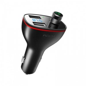 ROCK B300 2-PORT USB CAR CHARGER + TRANSMITER FM BLACK