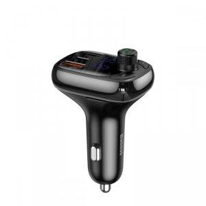 BASEUS S13 2-PORT USB CAR CHARGER + TRANSMITER FM BLACK
