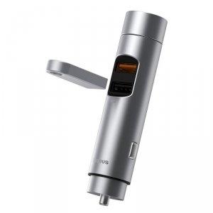 Baseus Transmiter FM Bluetooth 5.0 ładowarka samochodowa 2x USB 3 A 18 W PPS Quick Charge 3.0 AFC FCP srebrny (CCNLZ-C0S)