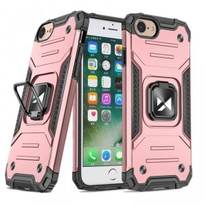 Ring Armor pancerne hybrydowe etui pokrowiec + magnetyczny uchwyt iPhone SE 2020 / iPhone 8 / iPhone 7 różowy