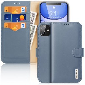 Dux Ducis Hivo skórzane etui z klapką pokrowiec ze skóry naturalnej portfel na karty i dokumenty iPhone 11 niebieski